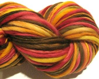 Handspun Yarn, Autumn, 132 yards, hand dyed merino wool, red orange yarn, brown yarn gold yarn  waldorf doll hair, knitting supplies,crochet