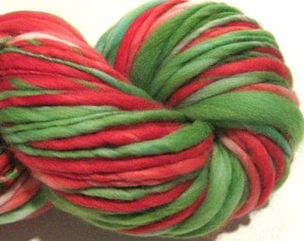 Super Bulky Handspun Yarn, Ho Ho Ho 125 yards, hand dyed merino wool, red green Christmas yarn, holiday, knitting supplies, crochet supplies