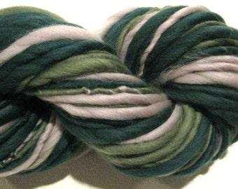 Super Bulky Handspun Yarn Green and Grey 70 yards merino wool green yarn gray yarn waldorf doll hair knitting supplies crochet supplies