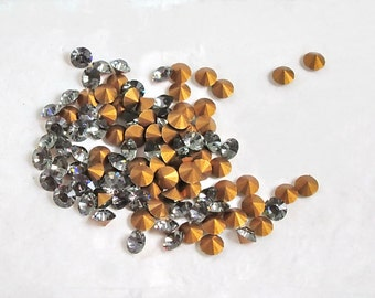 32pp Swarovski  Rhinestones,Black Diamond , 4-4.1 mm, Gold Point Backs, (24)