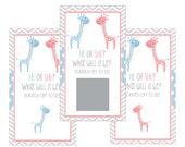Set of 12 Scratch Off Game Cards for Baby Showers with Gender Reveal Giraffes in Pink and Blue SC076