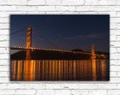 Golden Gate Bridge photo, San Francisco California travel photography, color fine art print, night, lights, water, reflection, greenpix