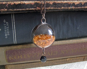 Copper Glitter Crystal Ball Glass Orb Necklace with Vintage Black Bead and German Glass Glitter