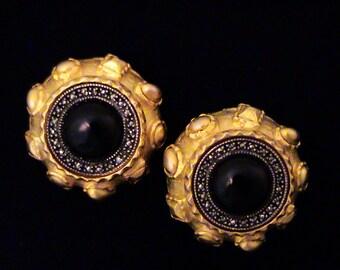 Vintage JUDITH JACK Black Cab, Marcasite, Sterling & Satin Gold Earrings