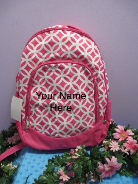 Backpack Hot Pink and White Interlocking Circles with Personalized Embroidery