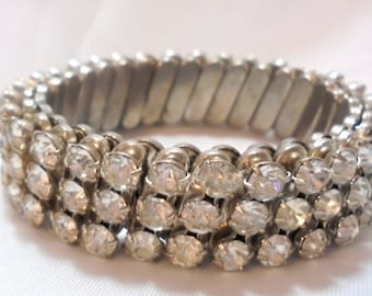 3 Row Rhinestone Vintage Expansion Bracelet From the 50's