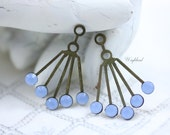 Blue Opal 30x21mm RARE Vintage Art Deco Style Brass Dangle Finding with Swarovski Crystals Ear Jackets - 2