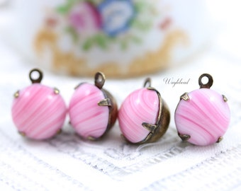 Set Stone Earring Drops Vintage Glass Round Stones 1 Ring Closed Back Brass Prong Settings 11mm Pink with Lines - 4