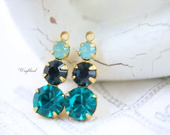 Pacific Green Opal Montana Blue and Blue Zircon Rhinestone Dangles Swarovski Set Stones 23mm Charms Brass Settings Teardrops - 2