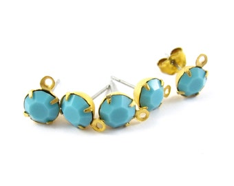 2 pcs - Gold Plated Crystal Earring Posts with Loop Rhinestone Ear Studs Earring Findings Round Set Stones 6.5mm - Turquoise