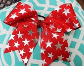 Red and Shiny Silver Star Print Girls Cheer Softball Bow Ponytail Holder