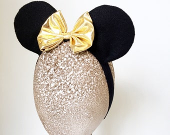 Girls Gold Bow Stretch Headband Made to Match Minnie Mouse Party Halloween Costume Prop