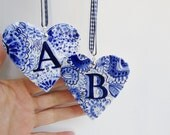B - Monogram - Hand painted porcelain  Heart -  Blue and white Delftware ornament