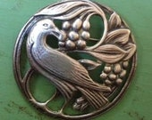 SALE Vintage Large Heavy Sterling Silver Bird and Berry Circle Brooch Pin
