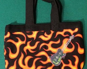 Rockstar flames Guitar embroidery purse