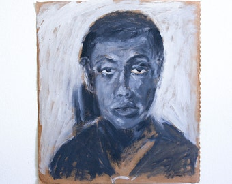 Vintage Portrait Painting / Outsider Art / 13 x 15 / Acrylic on Found Paper