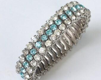 Turquoise and Clear Rhinestone Expansion Bracelet Vintage Stretch Bracelet