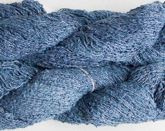 Warbler, Hand-dyed cotton boucle yarn - Denim Semi Solid