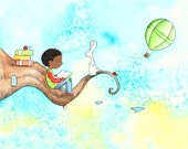 African American Boy Reading - LOST IN A Daydream - Art Print - Children
