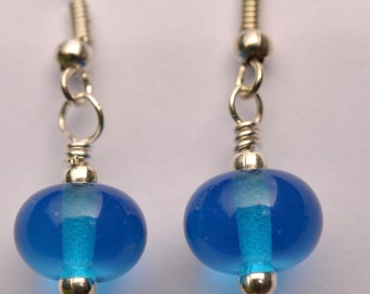 Little Plain Turquoise Lampwork Glass Bead Dangle Earrings