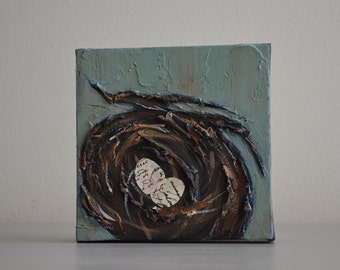 Nest With Eggs Original Mixed Media Painting