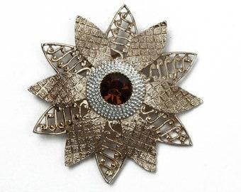 Gold Tone Dimensional with Aurora Borealis Rhinestone Flower  Vintage Pin Brooch