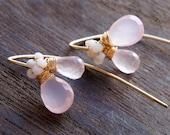 Pink Chalcedony Earrings, Pink Gemstone Jewelry, Gold Threader Earrings, Dogwood Earrings