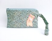 Wristlet wallet for iPhone 6s plus cat clutch purse handmade zipper bag samsung galaxy note green floral cotton purse
