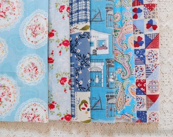 S041 Fabric Scraps Bundle Set - French Blue Country Shabby Chic Rose Paisley Lace Doily Heart House Patchwork (6PCS, 9x9 Inches)