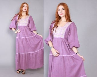 Vintage 70s DRESS / 1970s Lavender Cotton Balloon Sleeve Gauzy Floral Trim Maxi S - M