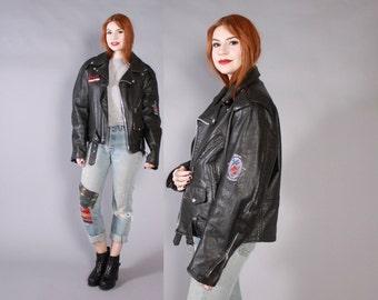 Vintage 90s Biker JACKET / 1990s JANES ADDICTION Tour Crew Black Leather Motorcycle Jacket