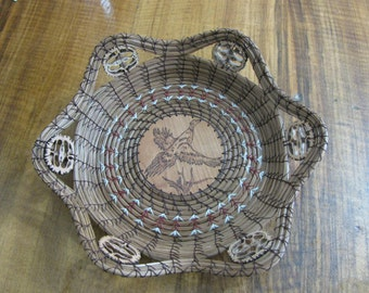 Wood Burnt Flying Pheasant Pine Needle Basket