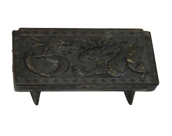 Vintage Repoussé Chinese Dragon Stamp Box / Chinoiserie / Desk Accessory