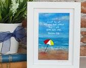 Beach Sea Framed Scripture Art Print Christian Gift Matthew 11v28