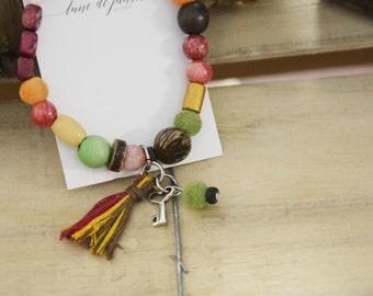 Bracelet coeur clé foret enchantée bois nature zen gypsie