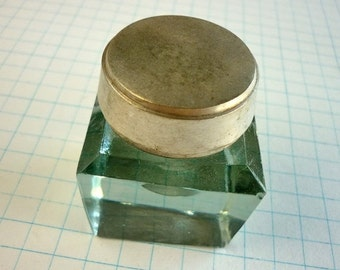 Glass and Metal Inkwell and Pen