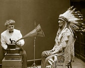 Music Stirs the Heart, Professionally Restored Large Reprint Photograph of Vintage Native American Blackfoot Man Listening to Music