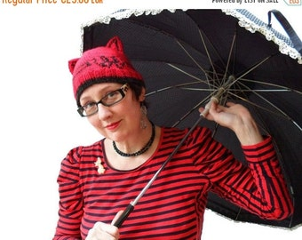 Mad Hat SALE 60% Off - SALE Knitted red / black kitty hat - beanie with cat ears