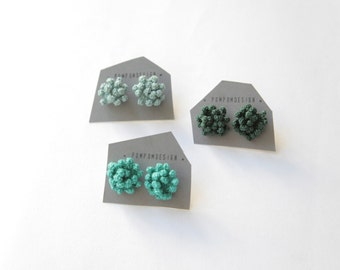 Metallic Turquoise Dahlia earrings