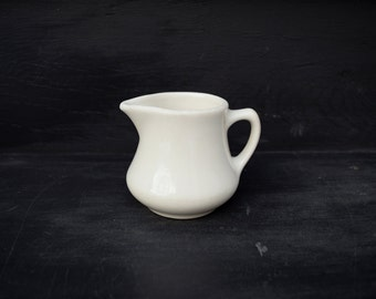 Vintage White Creamer . Small Pitcher .  Homer Laughlin . Diner China . 1965 .