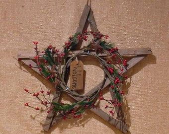 Weathered Barn Wood Primitive Star Wall Hanging Wreath Welcome