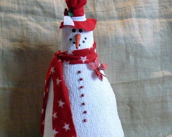 Large Fabric Snowman Christmas Holiday Decoration