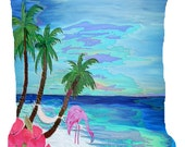 Coastal Flamingo and palm trees beach throw pillow available in 4 sizes
