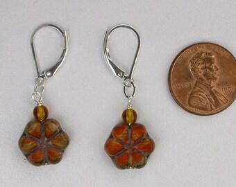 Orange Flower Shaped Earrings