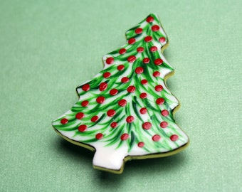 Christmas Brooch Handmade Porcelain Jewelry Christmas Tree Pin Holiday Wear