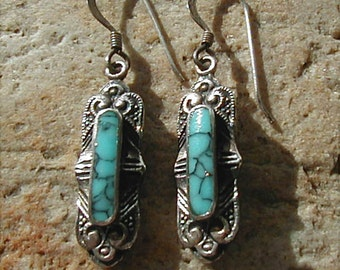Vintage Sterling Turquoise Dangle Earrings
