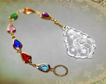 Celestial Crystal Sun Catcher. Jewel Tone Rhinestone Chain. Large Baroque Stars and Moon Window Prism