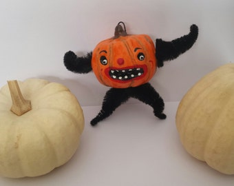 Vintage Style Halloween Folk Art Pumpkin Man Ornament OOAK