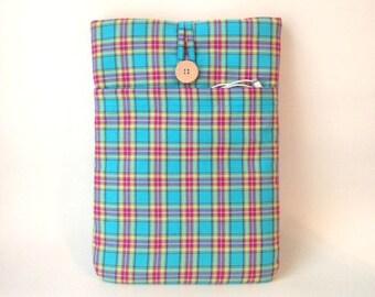 "Macbook Air Case 13 . 3 inch,  MacBook Pro Retina 13"",  Laptop Sleeve, Padded Mac Book Laptop Bag, Laptop Cover Turquoise Blue Madras Plaid"
