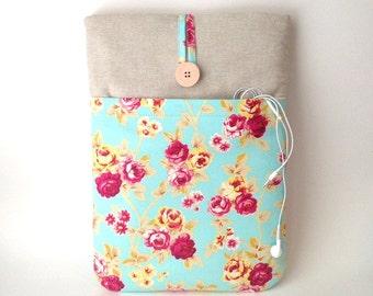 "Floral MacBook Air 13 Case, 13 . 3 inch Laptop Case,  MacBook Air 13 Sleeve, MacBook Air 13 3 inch Case, 13 "" Laptop Cover Bag, Aqua Rose"